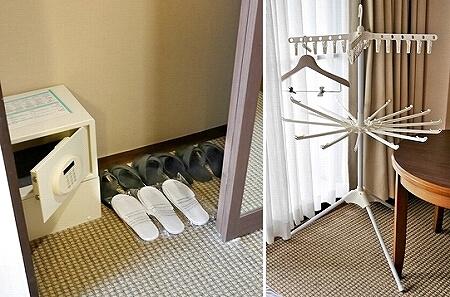 宮古島東急ホテル&リゾーツ 室内 オーシャンウィング 宮古島旅行記 ブログ 金庫 スリッパ セーフティーボックス 物干し