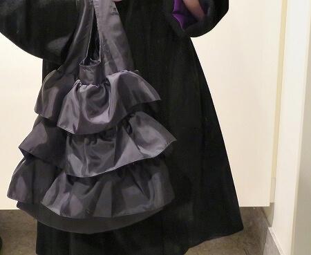 CITTI 3段フリルエコバッグ チッティ5507-3 おすすめ ブログ ブラック 黒 着画