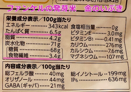 ファンケル 発芽米 発芽玄米 金のいぶき 栄養成分表示 食物繊維