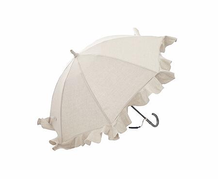 キワンダ B.B. リネンクロスフリルショート傘 日傘 Kiwanda 晴雨兼用傘 ベージュ ナチュラル