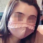 マニエールパーティー トップフリルマスク おしゃれマスク アッシュピンク おすすめ かわいい 楽天 着画