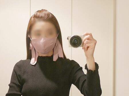 【WEB限定】troisiemechaco:サテンカラーバリエーションマスク トロワズィエムチャコ リボンマスク 着画 口コミ レビュー 感想 ブログ