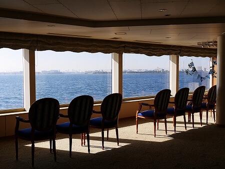 シンフォニークルーズのランチクルーズ 船内の様子 東京湾 展望クロワッサンセット ブログ 口コミ レビュー コロナ後 モデルナ 景色