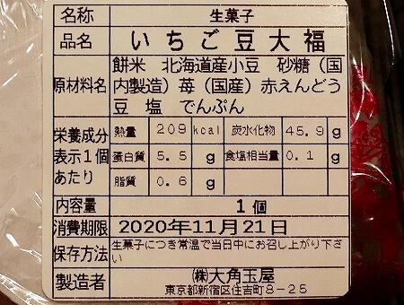 大角玉屋 銀座店 銀座インズ 元祖いちご大福 いちご豆大福 原材料
