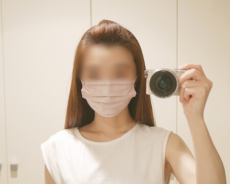 血色不織布マスク 血色マスク ライラックアッシュ ピンク 着画 ブログ レビュー 口コミ 小さめ